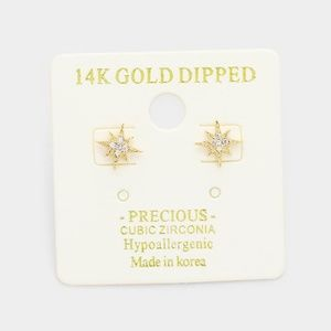 14K GOLD DIPPED CUBIC ZIRCONIA STAR STUD Earrings